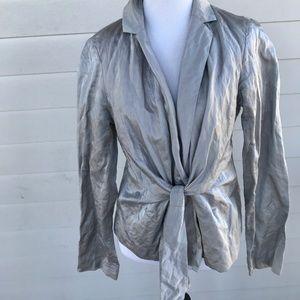 Eileen Fisher Women's Small Silky Gray Sash Jacket